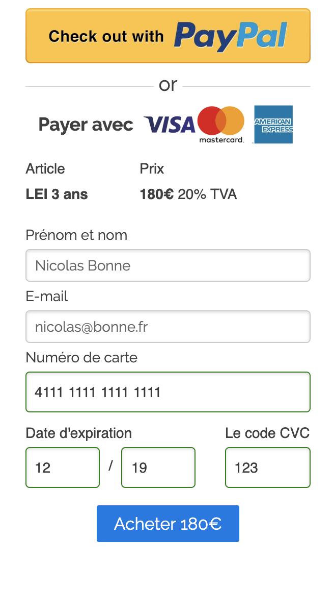 Vous pouvez payer par carte de crédit ou PayPal et votre demande de LEI sera traitée dès que le paiement aura été soumis.